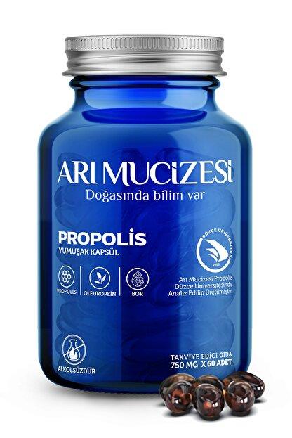 """Arı Mucizesi """"Propolis, Oleuropein ve Bor İçeren Takviye Edici Gıda  60 Yumuşak Kapsül x 750mg"""