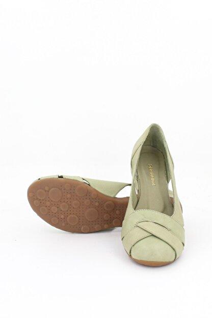 Deripabuc Hakiki Deri Yeşil Kadın Deri Babet Trc-4000