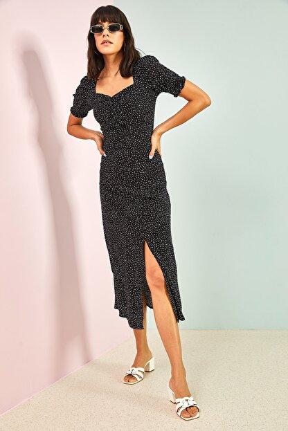 Bianco Lucci Kadın Siyah Desenli Önü Büzgülü Elbise