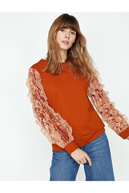 Koton Kadın Turuncu Dantel Detaylı Sweatshirt