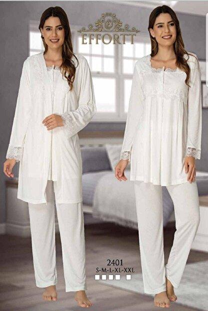 Effort Pijama Lohusa Uzun Kol 3'lü Pijama Takım