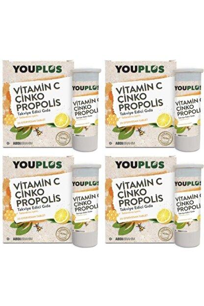 Youplus 4 Adet Youplus Vitamin C, Çinko, Propolis Efervesan Tablet Takviye