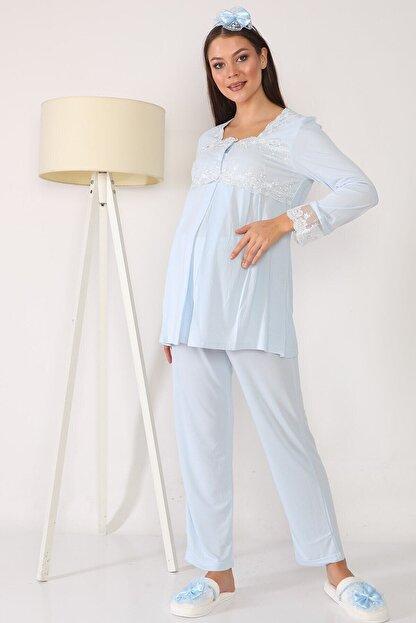 lohusahamile Lohusa Hamile 2603 Mavi Lohusa Pijama