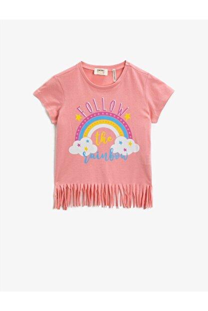 Koton Kız Çocuk Pembe Kısa Kollu Pamuklu T-Shirt