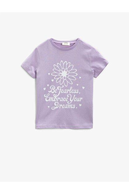 Koton Kız Çocuk Mor Yazılı Baskılı Kısa Kollu Bisiklet Yaka Pamuklu T-Shirt