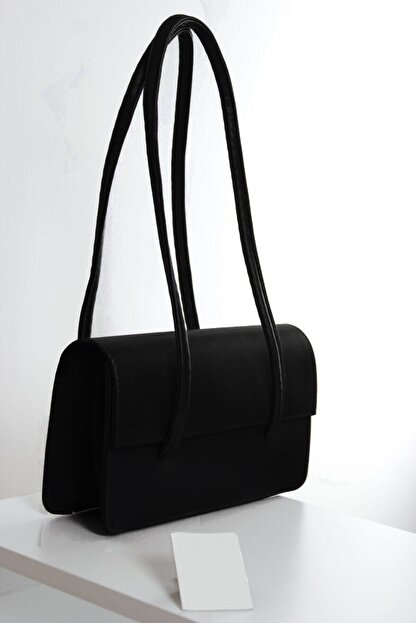 bag&more Kadın Koyu Siyah Kapaklı Baget Çanta