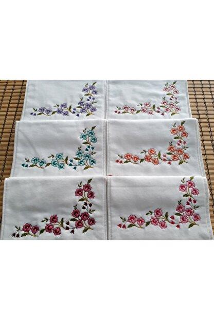 tekstilstok 12'li Kadife Köşe Nakışlı Çeyizlik Mutfak Havlusu - %100 Pamuk - 6 Nakış Rengi Varyantı
