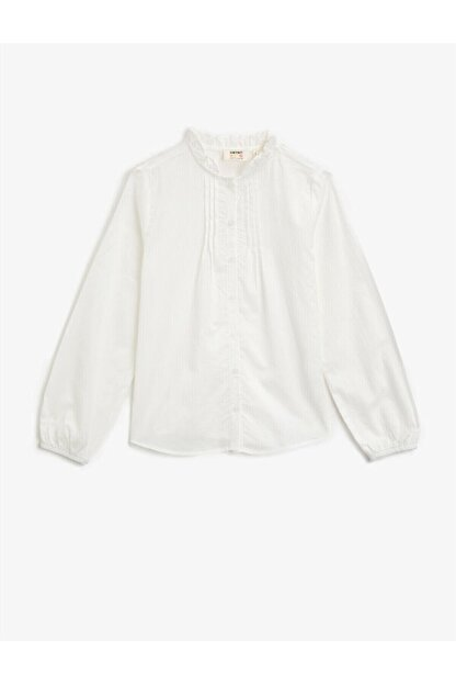 Koton Kız Çocuk Beyaz Dik Yaka Düğmeli Uzun Kollu Pamuklu Gömlek