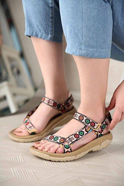 Ccway Kadın Vizon Cırtlı Sandalet