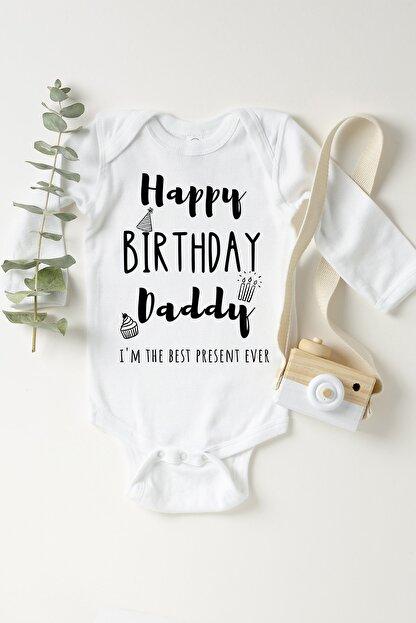 Happy Onesie Co Unisex Bebek Beyaz Doğum Günün Kutlu Olsun Babacığım Çıtçıtlı Body