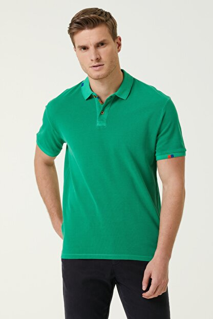 Network Erkek Slim Fit Yeşil Polo Yaka T-shirt 1078776