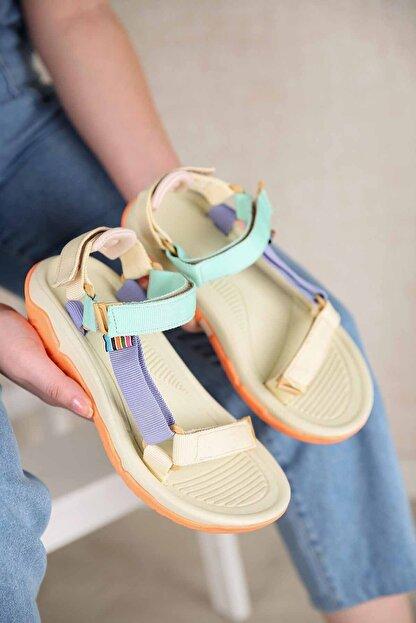 Ccway Kadın Su Yeşili Lila Bej Cırtlı Sandalet