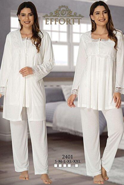 Effort Pijama Hamile Çarşı Effortt Lohusa Uzun Kol 3'lü Pijama Takım