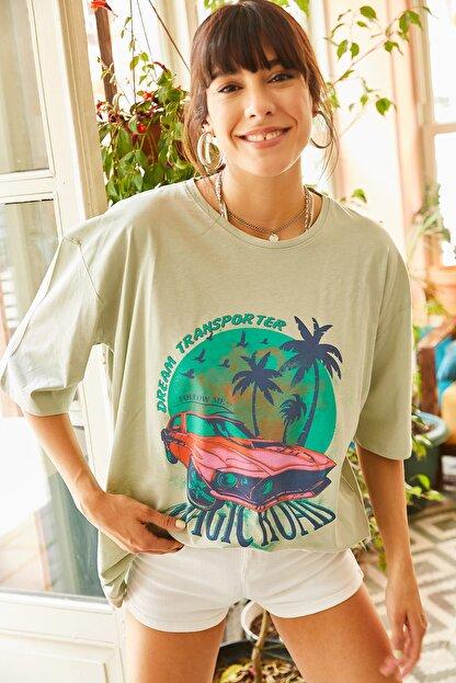 Olalook Kadın Yeşil Magic Road Baskılı Oversize Tişört TSH-19000513