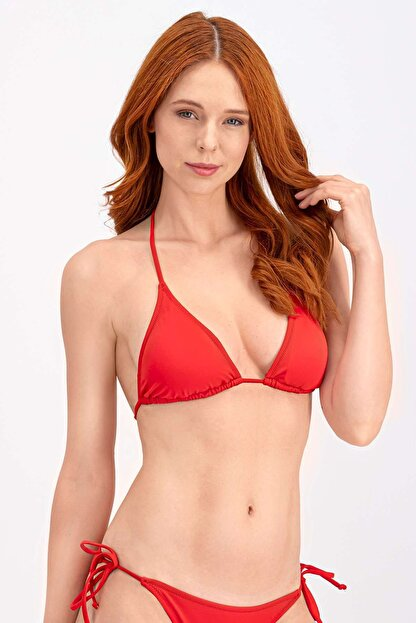 Arnetta Kadın Kırmızı İpli Üçgen Bikini Üstü