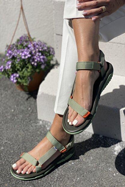 İnan Ayakkabı Kadın Yeşil Sandalet