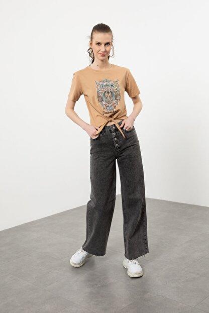 Arma Life Kadın Kahverengi Taşlı Baykuş Baskılı Bağlamalı T-shirt