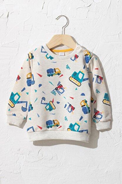 LC Waikiki Erkek Bebek Mavi Baskılı Lqq Sweatshirt