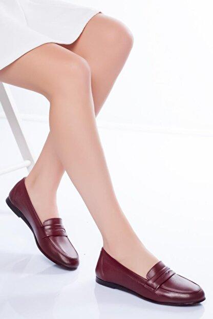 Diego Carlotti Kadın Bordo Hakiki Deri Günlük Babet Ayakkabı