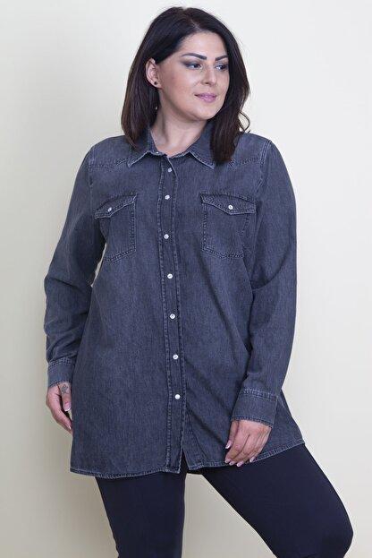 Şans Kadın Antrasit Çıtçıt Düğmeli Tensel Kot Gömlek 65N17797