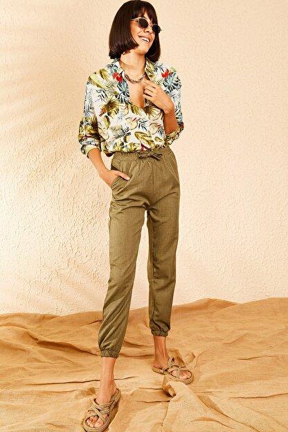 Bianco Lucci Kadın Haki Beli ve Paçası Lastikli Mevsimlik Rahat Pantolon 10111026