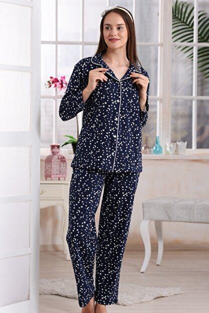 Emose Kadın Lacivert Düğmeli Lohusa Pijama Takımı
