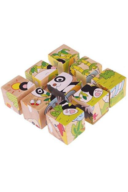 Mobee Ahşap Küp Puzzle 9 Parça Eğitici Öğretici Ahşap Oyuncak Puzzle