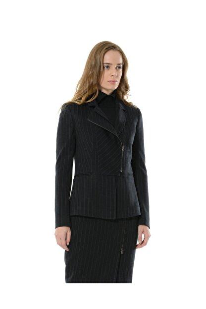 BİRELİN Kadın Lacivert Çizgili Yarım Fermuar Corine Ceket