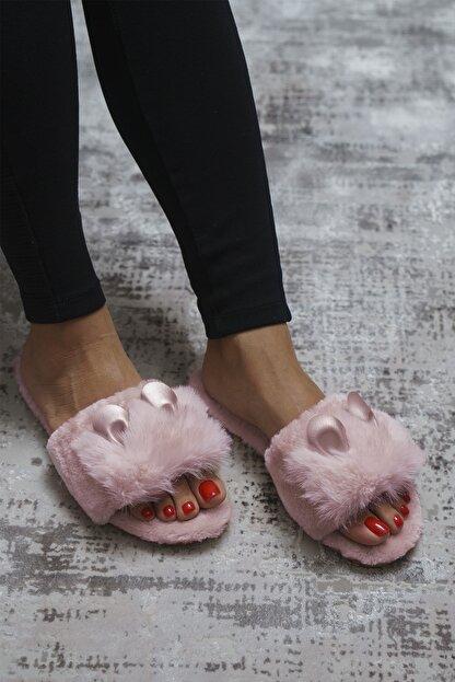 OCT Shoes Pudra Kulaklı Peluş Terlik 1028