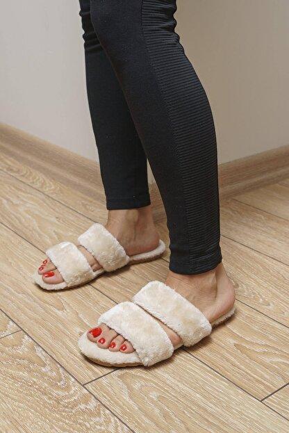 OCT Shoes Krem Düz Peluş Terlik 1027