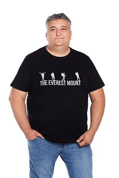 The Everest Mount Büyük Beden Erkek Siyah Bisiklet Yaka Outdoor Baskılı Trekking Tişört