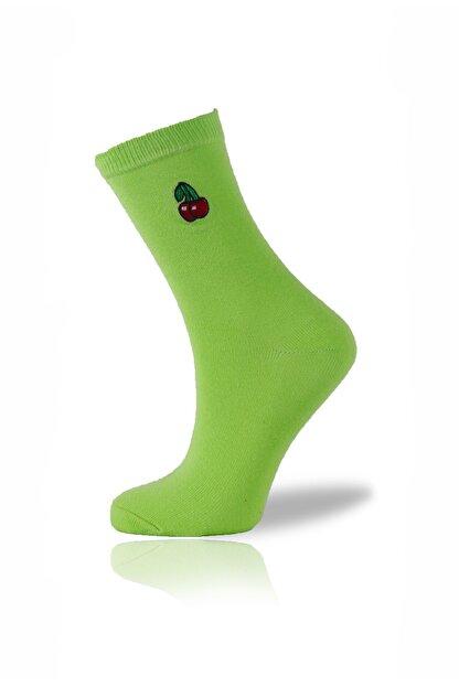 Socksafon Kiraz Nakışlı Yeşil Çorap