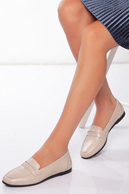 Diego Carlotti Kadın Bej Hakiki Deri Günlük Babet Ayakkabı