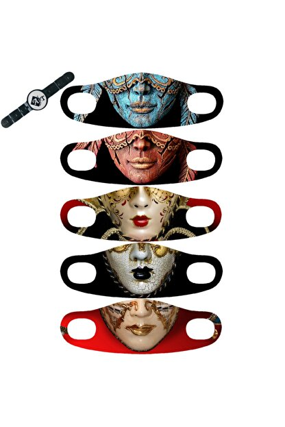 ART FACE Baskılı Yıkanabilir 5'li Yüz Maskesi Art-04