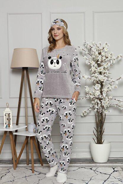 ARCAN Kadın Gri Polar Panda Desenli Nakış Detaylı Göz Bandı ve Çorap Hediyeli Pijama Takımı