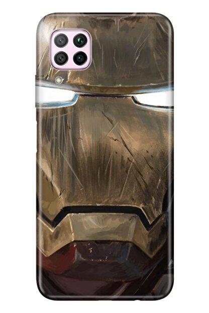 Cekuonline Huawei P40 Lite Tıpalı Kamera Korumalı Silikon Kılıf  Iron Man Mix