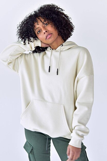 Addax Kadın Beyaz Kapüşonlu Sweat S8641 - S1 - S2