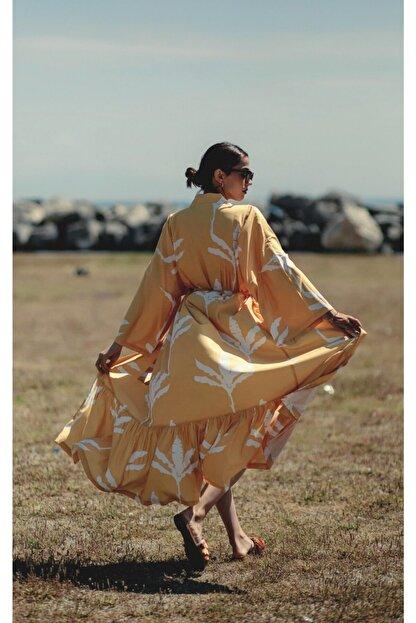 La Fontaine Kadın Beyaz Desenli Kimono