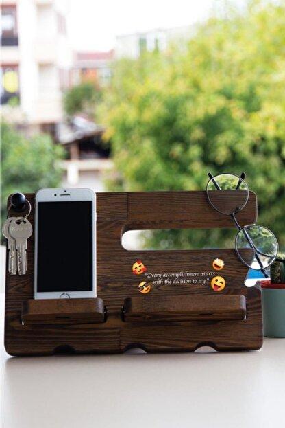 Meşgalem Ahşap Masaüstü Organizatör Telefon Tutacağı Özel Söz Baskılı -6