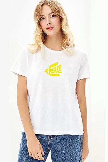 Collage Peace Love Music Baskılı Beyaz Kadın Örme Tshirt T-shirt Tişört T Shirt