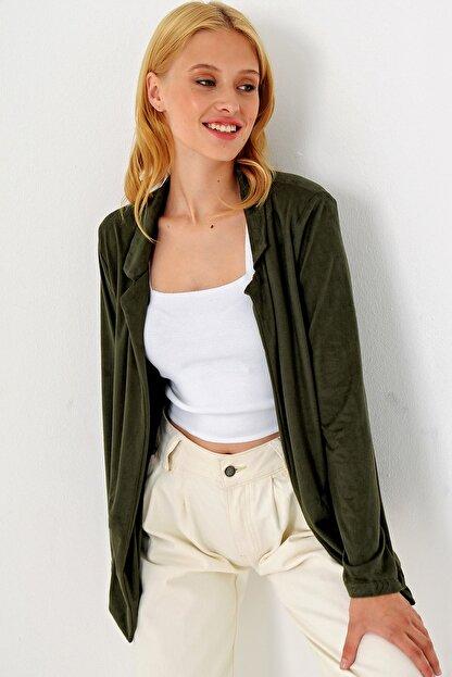 Trend Alaçatı Stili Kadın Yeşil Süet Ceket MDS-280-CKT