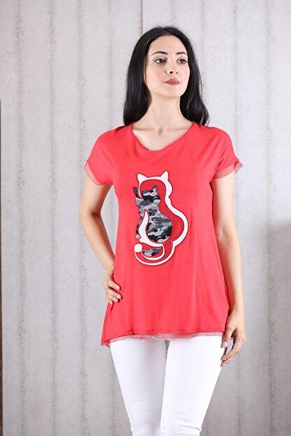 Orkide Kadın Mercan Iç Içe Kedi Baskılı Bisiklet Yaka Kolsuz T-Shirt