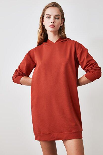 TRENDYOLMİLLA Tarçın Kapüşonlu Örme Sweat Elbise TWOAW20EL1554