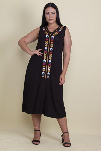 Şans Kadın Siyah Nakışlı V Yaka Viskon Elbise 65N17997