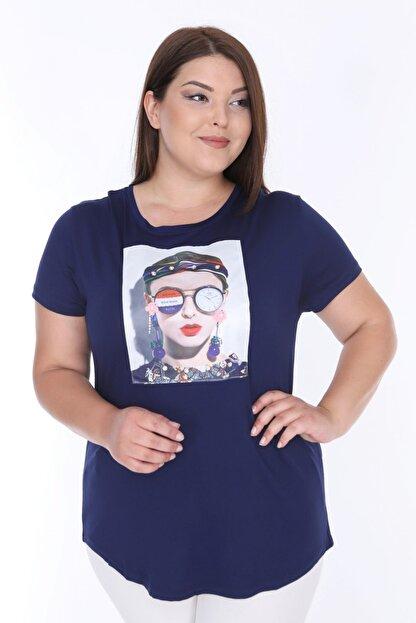 Şans Kadın Lacivert Digital Baskı İnci İşli Bluz 65N18004