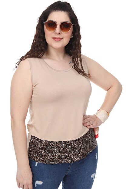 Şans Kadın Bej Garni Detaylı Kolsuz Bluz 65N18014