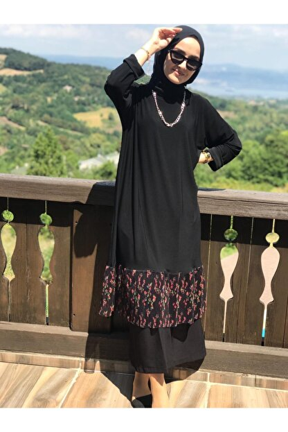 AYSUN AYDEMİR Kadın Siyah Çiçekli Tül Detaylı Sandy Takım