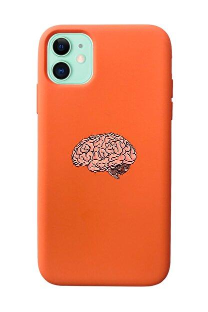 Mupity Beyin Tasarımlı Turuncu Lansman Kılıf Iphone 11