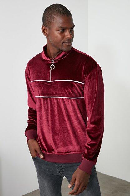 TRENDYOL MAN Bordo Erkek Panelli Fermuarlı Dik Yaka Regular Sweatshirt TMNAW21SW0363