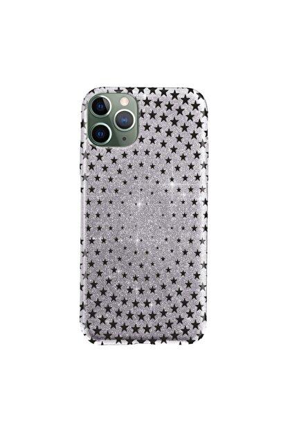 """Cekuonline Iphone 11 Pro Max 6.5"""" Kılıf Simli Shine Desen Silikon Gümüş Gri - Stok182 - Starix"""